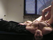 Redhead getting her asshole fucked hard in POV by her husband, then sucking his dick