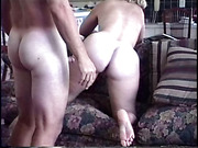 Deep sofa fuck and creampie from behind for hot milf wife