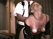 Sexy blonde in short skirt gets rammed in a hotel by security guard