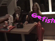 Steaming hot blonde lezzie gets her pierced twat fisted while at restaurant