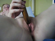 Short haired pale blonde babe plays with vibrator while watched by friend